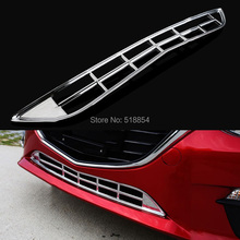 ACCESSORIES FIT FOR MAZDA 3 2014 2015 CHROME FRONT LOWER BUMPER GRILL MESH COVER MOLDING GRILLE TRIM INSERT GARNISH GUARD
