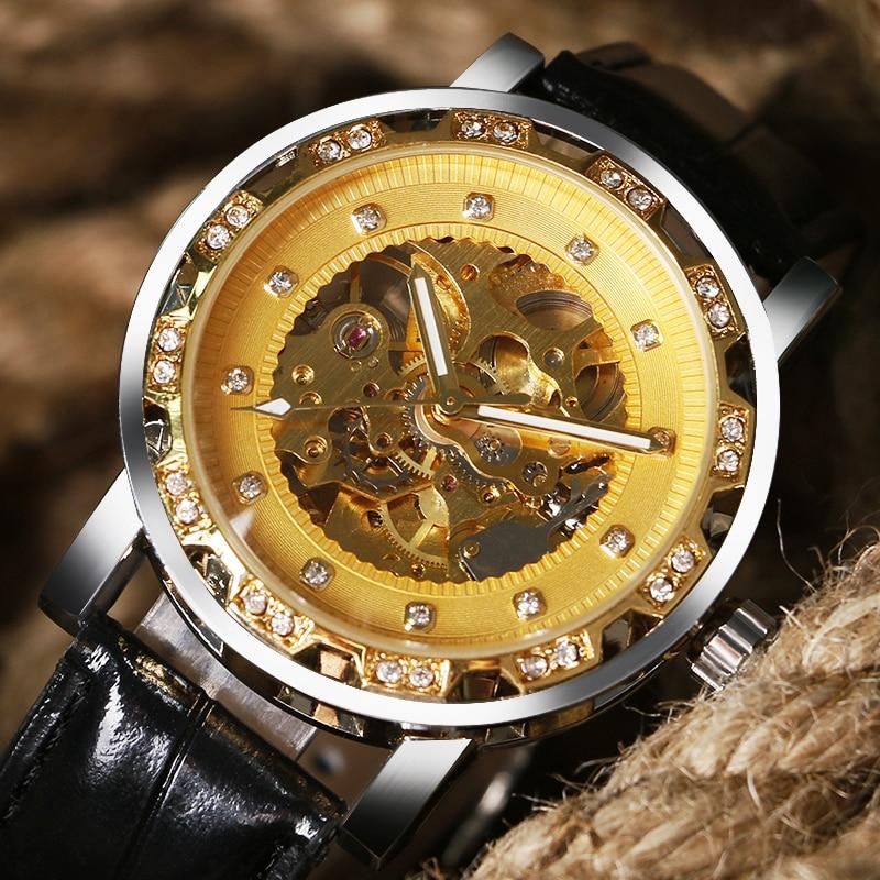 Luxury Hollow Design Mechanical Watch Men High Quality Mens Wrist Watches Male Casaul Clock relogio masculino W185201<br><br>Aliexpress