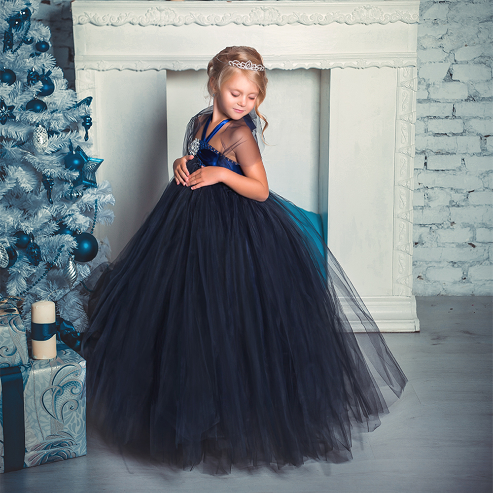 Newest Design Diamond Flower Girl Evening Dresses Kids Elegant Navy Blue Tutu Dress Party Vestidos For Special Occasions<br>