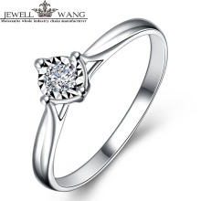 JEWELLWANG Diamond 0.4CT Effect Ring 18K White Gold Carat Light Luxury Cute Birthday Girlfriend Gift Engagement Rings for Women(China)