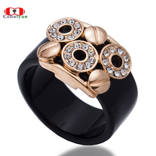 2017 Hottest 2 Colors circles AAA Zircon Black Ceramic Luxury Rings for men and women,full size,Factory Price