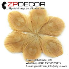 ZPDECOR 50pcs/lot 8-10cm(3-4inch) Unique Handwork Trimmed Light Brown Peacock Feather Eye Plumage(China)