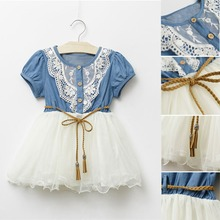 Baby Kids Girls Short Sleeve Denim Lace Dresses Tops White Guaze Children Tutu Dress Sundress 1-6Years