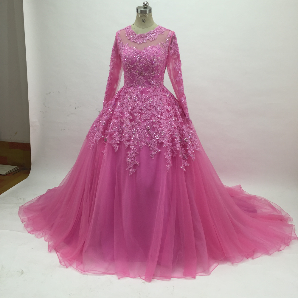 Ball Gown Lace Evening Dresses 2019 Long Court Train Back zipper lace Prom Dresses with Beading long sleeves Formal party gowns