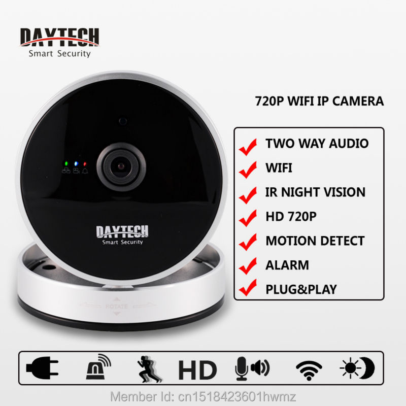 Daytech IP Camera WiFi Home Security Camera Night Vision Two Way Intercom CCTV Indoor Remote Mobile Control Motion DetectDTC8814<br>