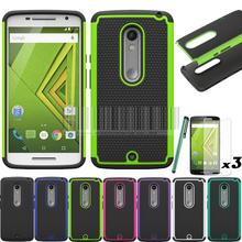 For Motorola Moto X Play XT1562 XT1563/Droid Maxx 2 Case Armor Heavy Duty Hybrid TPU Silicone Cover With/Without Films @(China)