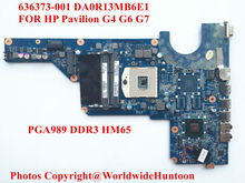 High quality laptop motherboard for HP Pavilion G4 G6 G7 636373-001 DA0R13MB6E1 HM65 PGA989 DDR3 Fully tested