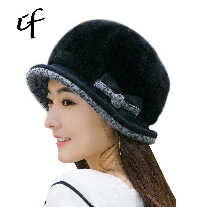 illfly Bow Rabbit Fur Womens Hat Warm Autumn Winter Knit Hats For Women Girl Knitted Beanies Bone Female Cap Gorro SkulliesОдежда и ак�е��уары<br><br><br>Aliexpress