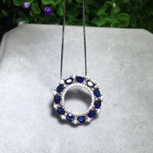 natural blue sapphire pendant S925 silver Natural gemstone Pendant Necklace trendy Fashion round Circle women girl fine jewelry(China)