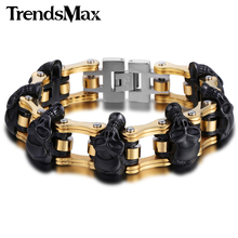 Trendsmax 22cm Mens Bracelet 316L Stainless Steel Jewelry Biker Wristband Punk Skulls Motorcycle Link Chain HBM66(Hong Kong)