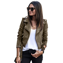 Slim Short Jacket Women Long Sleeve Coat Casual Suede Fabric Fashion Outwear Tops Zipper Turn-down Collar Punk Style Lady Jacket