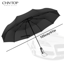 Wind Resistant Folding Automatic Umbrella Rain Women Auto Luxury Big Windproof Umbrellas Rain For Men Black Coating 10K Parasol(China)
