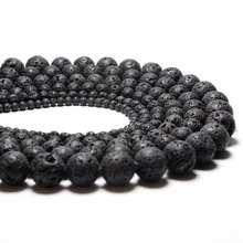Natural Black Volcanic Lava Stone Round Shape Natural Stone Beads Wholesale DIY Jewelry Bracelet Making 4 6 8 10 12 14 mm  Beads