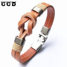 New 2017 Leather Men Bracelet Jewelry Man Anchor Bracelet Wristband Charm Bracelets For Male Accessories Hand Women Pulsera Gift
