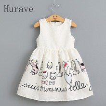 Hurave New Sleeveless White Dress Dobby Children Cartoon Cat Summer Dress Kids Girls Sundress Vestidos Fashion kids clothing