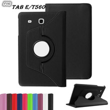 freeshipping new arrival 360 Rotating Litchi pu Leather case cover for Samsung Galaxy Tab E 9.6 T560 T561 Tablet cover case+film