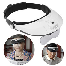 Hot 2 LED Headband Glasses Illuminated Magnifier Loupe Single/Bi-plate 11 Magnifications 5 lens New(China)