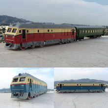 High simulation train,1:87 scale alloy pull back Dongfeng double train, carriage, trailer,toy cars,free shipping
