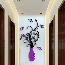 Crystal Acrylic 3D Flower Vase Wall Stickers Mirror Glass Wallpaper Art Mural Decals Purple Red DIY Crafts Home Room Decoration
