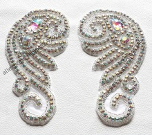 free shipping 1 pair/lot 9 shape handmade crystal rhinestone applique trims for hat clothes shoulders decoration AB hotfix motif
