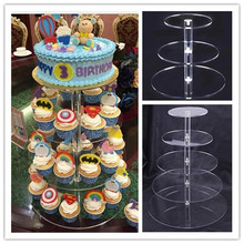 3/5 Tiers Clear Acrylic Cake Stand Round Cup Cupcake Holder Wedding Birthday Party Events Dessert Sugarcrafts Display Stand(China)