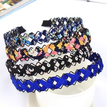 Braid Cloth Flower Headbands Simple Elegant Hairbands Women Girl Hair Accessories(China)