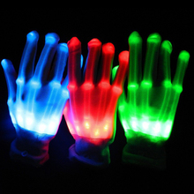 Costume Leds 12pairs/lot Gloves For Party Decorations Colorful Led Rave Light Finger Lighting Flashing Unisex Skeleton Glove(China)