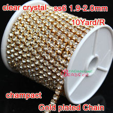 2mm Ss6 Glass crystal Rhinestones Cup Chain For Wedding Dress 1Row 10 Yards Gold  compact base for diy Wedding Dress Crystal