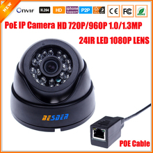 HD 720P 960p 1.0/1.3 Megapixel IP Camera PoE HI3518E + OV9712 With 1080P Lens IR Cut Filter PoE Cable Security Dome Camera(China)