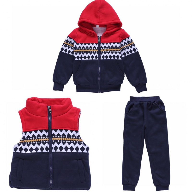 2018 Winter Childrens Clothing Winter Baby Children Boys Girls Cotton Down Coat Jacket Cotton Vest Leggings Three Pieces Sets<br>