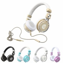 3.5mm Headband Foldable Wired Headphones w/ Mic For PC Table Cell Phone Earphone