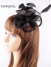 PROMOTION Ladies elegant feather flowers sinamay fascinators for party hats bridal hair accessories wedding hats  P11