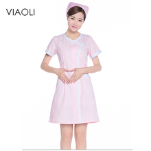 Viaoli Medical Uniforms Nursing Scrubs Clothes for Beauty Shop Short Sleeve Doctor Clothing Uniformes Hospital Women Work Dress(China)