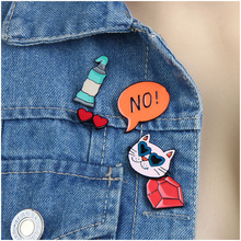 5 Pcs DIY Cute Lapel Pins Set For Women Fashion Clothing Accessories Colorful Enameled Metal Cat/Glasses Lovelry Brooches