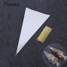 Tronzo 100pcs/set Cone Shaped Candy Bags 18*37cm Popcorn Flower Gifts Packaging Bag For Wedding Birthday Party Decorations