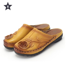Z Women Slippers Summer Sandals Flip Flop Beach Slippers Floral Wedge Women Shoes Genuine Leather Casual Shoes Women Loafers(China)