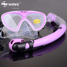 WAVE Snorkeling Mask Diving Goggle Snorkel Tube Set Children Underwater Easy Breath Scuba Snorkel Mask For Swimming Equipment