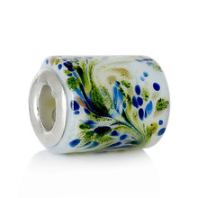 DoreenBeads European Style Charm Lampwork Glass Beads Cylinder White Glitter Flower About 15mmx12mm,Hole:About 5.1mm,20 PCs(China)