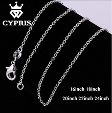 "3 28 SALE bulk 16""18""20""22""24"" 1mm thin chain necklace chain silver lobster long 5pcs/lot accessory findings 925 wholesale"