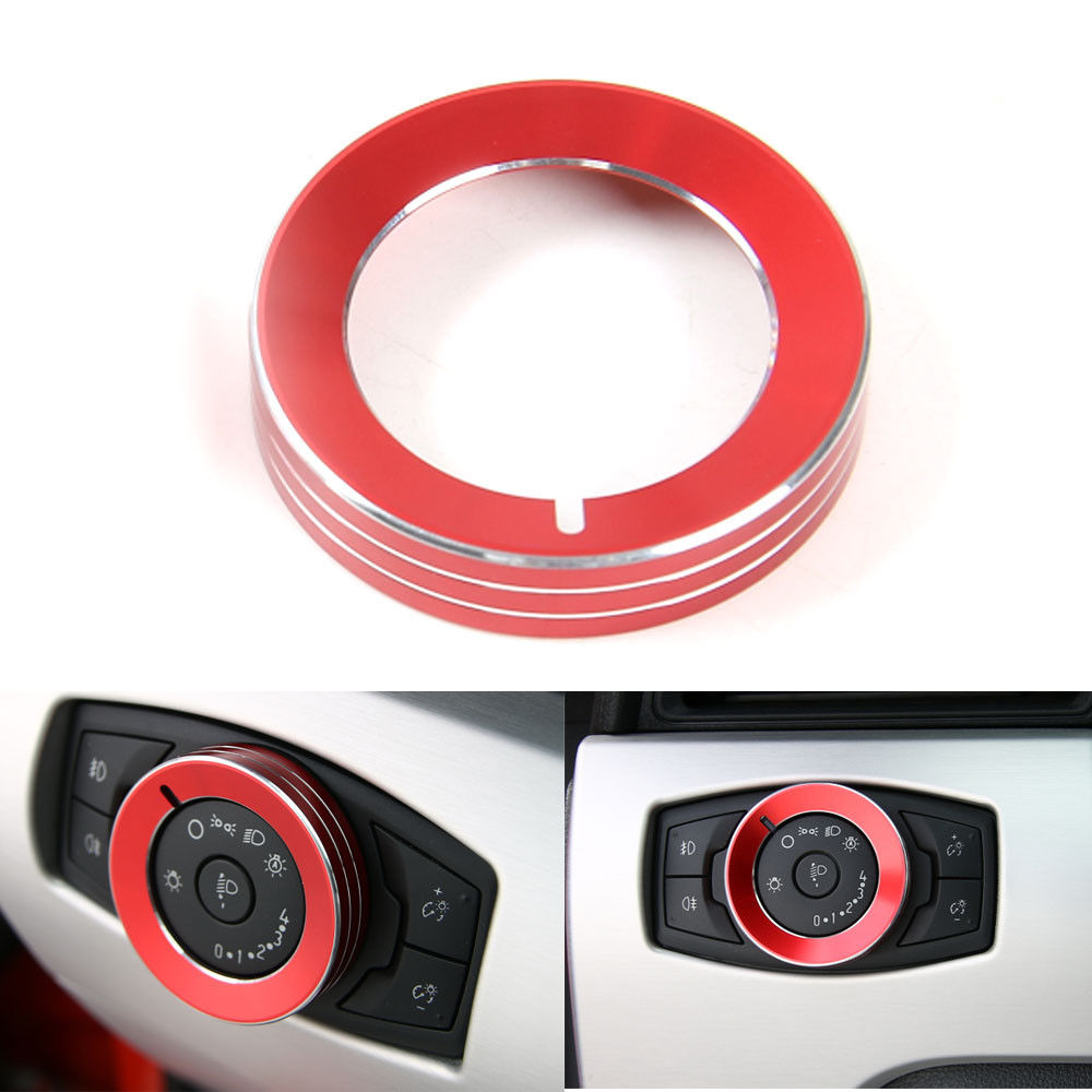BBQ@FUKA Car Headlight Knob Switch Ring Cover Trim Red/Black/Blue Car Styling Fit For Ford Mustang F150 2015 2016(China (Mainland))