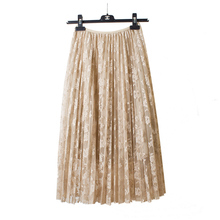 2017 spring and autumn lace hook flower skirt pleated petticoat medium long underskirt elastic waist all match basic half slip(China)