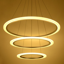 Top Modern LED Acrylic Chandelier Lights Lamp For Living Room 3 rings Chandeliers Lighting Pendant Hanging Ceiling Fixtures