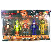 5 Pcs/ Pack 5.5 Inch Five Nights At Freddy's PVC Action Figure Toy Foxy Gold Freddy Chica Freddy With 2 Color LED Lights