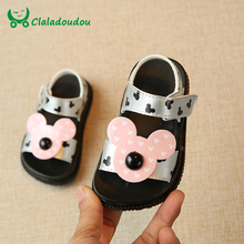 Claladoudou 0-3Y Baby Sandals Kids Girl White Moccasins Beach Sandals For Toddler Boys Slipper Silvery Mickey Mouse Infant Shoes