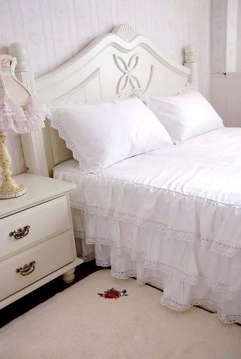 Luxury Three Layers Style, 100% Cotton, White Satin Lace Bed Skirt, Twin, Full, Queen, King 1