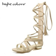 2018 New Summer Girls Shoes Cross Strap Sandals High Gladiator Tall Sandals  For Women Back Zipper Boot 3 Colors Plus Size 43 bf000c7b0540