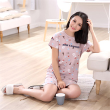 2017 summer new nightgown Pure cotton short sleeve nightgown sets all cotton girl girl all cotton Leisure nightgown variety wome(China)