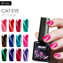 BUKAKI 3D Gel Polish Diamond Magnetic Cat Eyes Nail Gel Varnish DIY Red Flame Cat's Eye 22 Colors Nail Art Lacquer