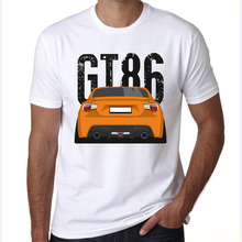 mens t shirts fashion 2016 retro Race car Design T shirt Cool Tops Short Sleeve Orange Toyota GT86 Hipster Tees(China)