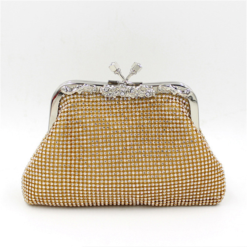Women Gold Chain Wedding Clutch Bag Luxury Bride Evening Bags Women Silver/Black/Gold Diamonds Crystal Handbag <br>